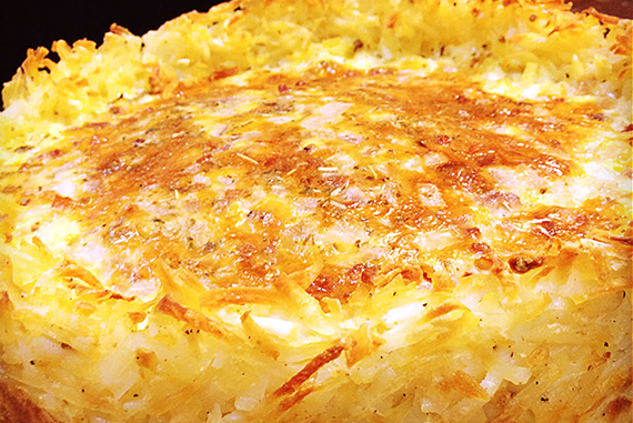Quiche with a Hash Brown Crust