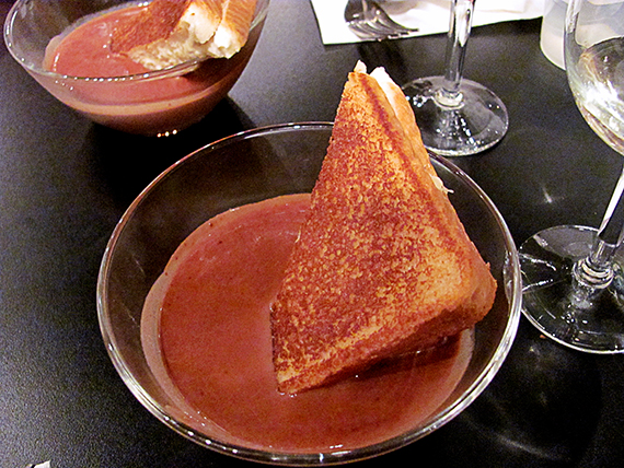 chocolate-soup-with-caramelized-banana-cheesecake-sandwiches