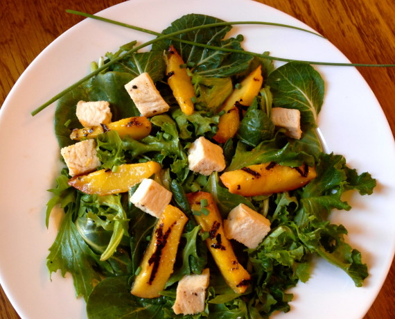 Grilled Chicken and Peach Salad and an Organic Girl Greens Giveaway!