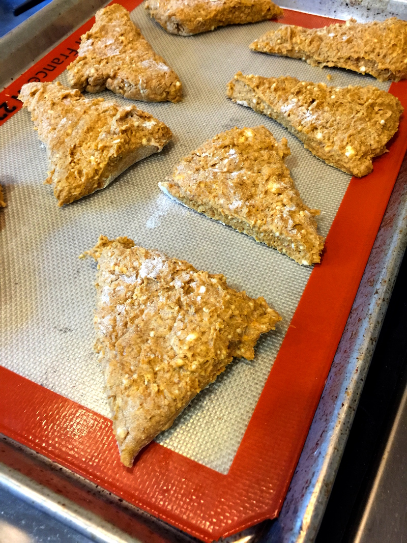 pumpkin scones baking sheet