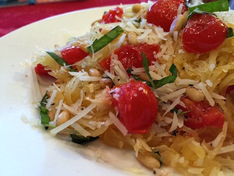 Spaghetti Squash with Basil and Pine Nuts