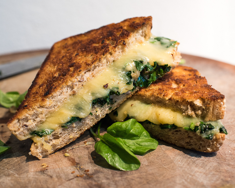 Garlicky Greens Gouda Grilled Cheese
