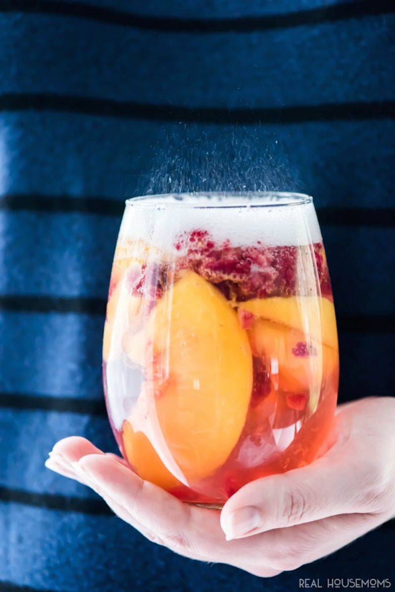 Sparkling White Peach Sangria Recipe — Dishmaps