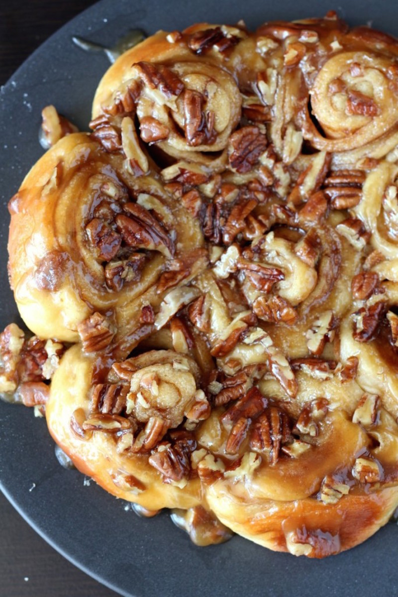 caramel pecan sticky buns from chocolate with grace