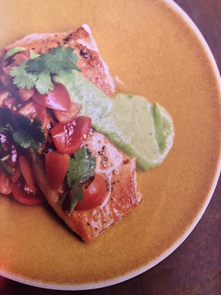 Seared Salmon with Avocado Sauce