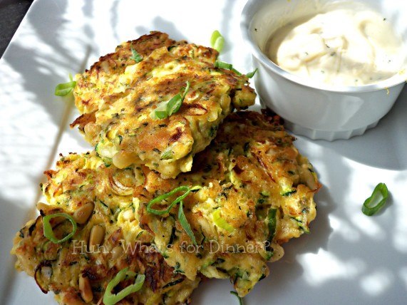 Zucchini and Pine Nut Fritters with Lemon Parmesan Mayonnaise