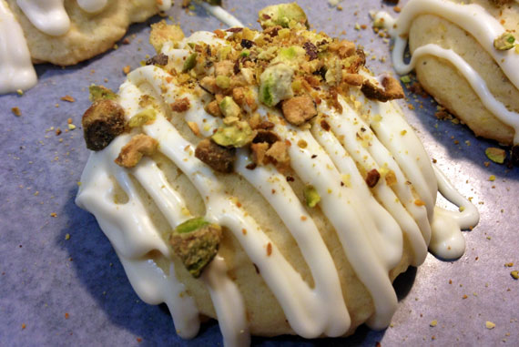 Lemon Rosemary Cookies with White Chocolate and Pistachios