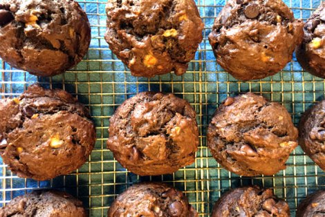 Double Chocolate Peanut Butter Banana Muffins