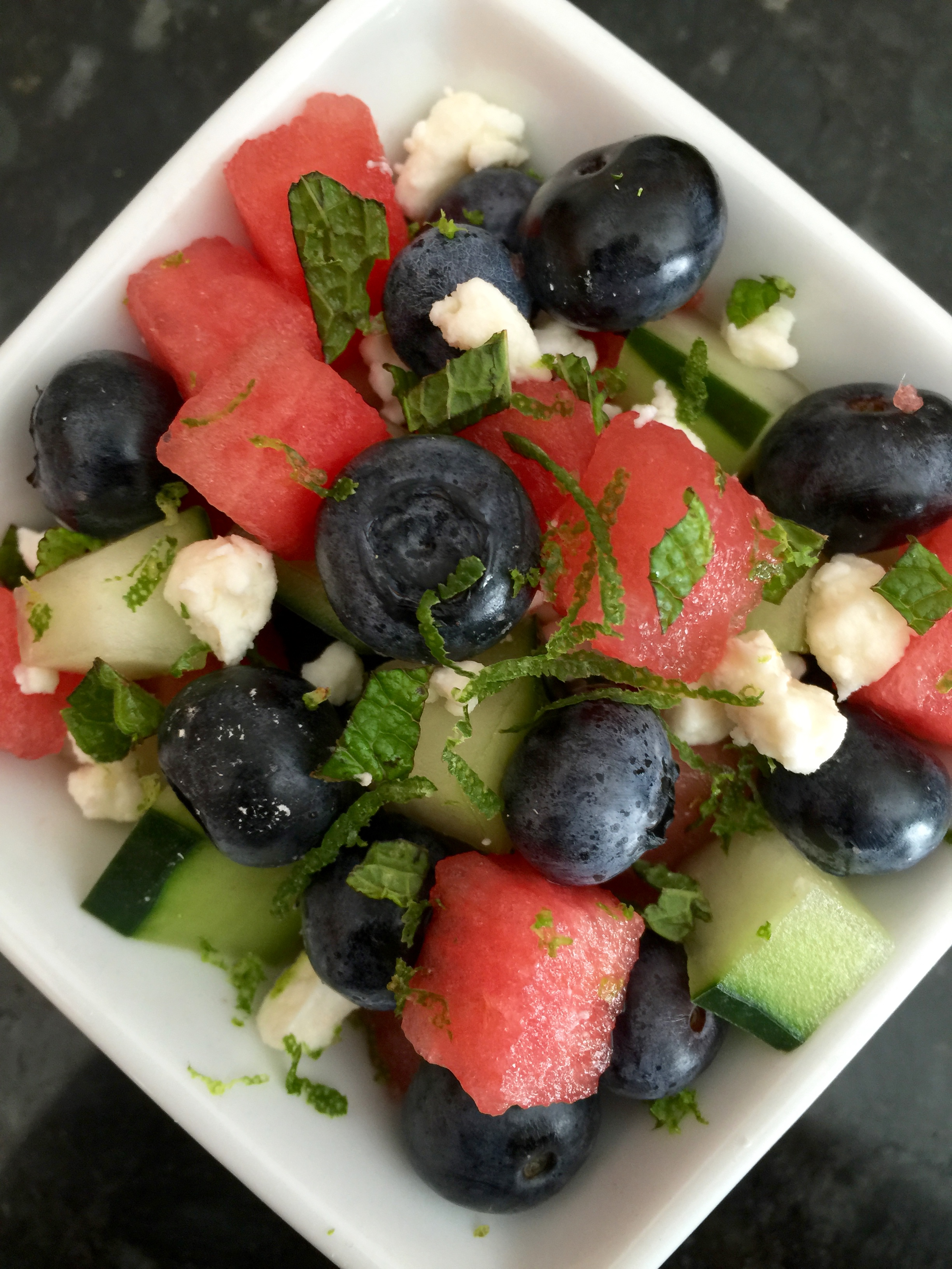 Watermelon, Cucumber and Blueberry Salad